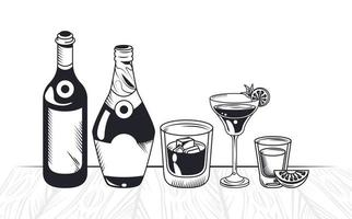 drinks in table vector