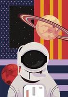 astronauta y saturno vector