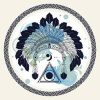 feathers native crown tribal style in circular frame vector