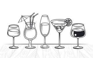 drinks cocktails cups vector