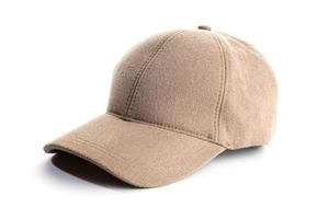 Brown baseball cap isolated on white background photo