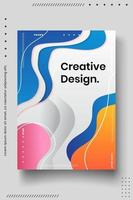 Cover design template set with abstract lines modern different color gradient style on background vector