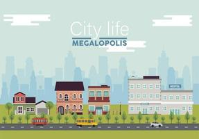 city life megalopolis lettering in cityscape scene with hospital and buildings vector