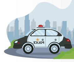 police patrol on the city scene icon vector