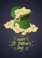 Feliz día de San Patricio letras con sombrero de duende y monedas vector