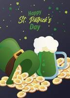 Feliz día de San Patricio letras con monedas en sombrero de copa elfo y cerveza vector