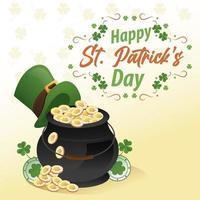 Feliz día de San Patricio letras con caldero de tesoro y sombrero de duende vector