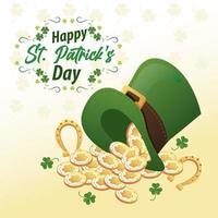 Feliz día de San Patricio letras con herraduras y monedas en sombrero de copa elfo vector