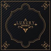 luxury frame golden victorian style in black background vector