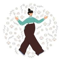 Mindful walking meditation vector