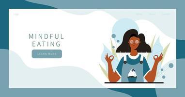 Linda mujer practicando ejercicio de alimentación consciente en la naturaleza y deja el diseño de banner de la página de destino vector