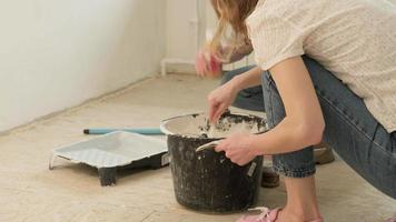Two Young Women Mixing Paint video