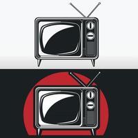 Silhouette Vintage Tv Retro Antique Stencil Illustration Drawing vector