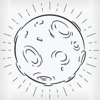 Doodle Full Moon Hand Drawn Sketch Vector Illustration Clipart