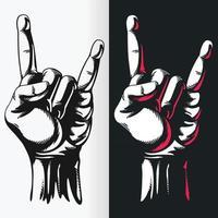 silueta rock n roll gesto de la mano signo plantilla dibujo vectorial vector