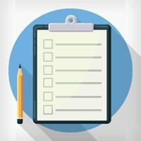 Flat Agenda List Clipboard Design Style Cartoon Illustration Drawing vector