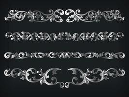 Divider Silver Frame Victorian Ornamental Line Floral Isolated Vector