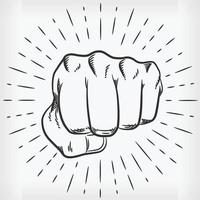 Sketch Hand Punching Front View Doodle Illustration Drawing vector