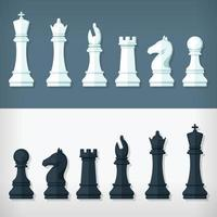 Flat Chess Pieces Design Set Style Simple Illustration Drawing vector