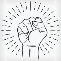 Sketch Raised Power Fist Clenched Doodle Hand Drawn Illustration vector