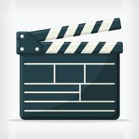 Flat Film Director Clapperboard Cinema Design Style Movie Drawing vector
