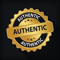 Gold Badge Authentic Guarantee Label Logo Isolated Round Emblem Sign vector