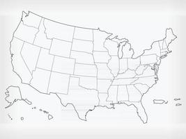 USA Map United States Blank Outline Doodle Isolated Vector Drawing