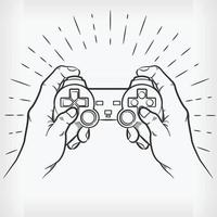 Doodle Hand Playing Video Game Controller Sketch Illustration Drawing vector