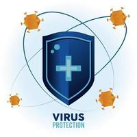 virus protection shield with particles color orange orbiting vector