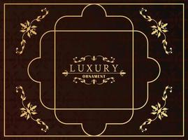 golden luxury frame with victorian style in red wine background vector