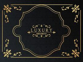 golden luxury frame victorian style in black background vector