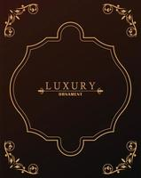 luxury golden frame victorian style in red wine background vector