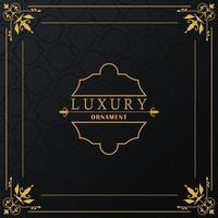 luxury golden frame with style victorian in black background vector