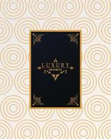 luxury frame with victorian style in golden waves figures background vector
