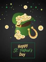 Feliz día de San Patricio letras con monedas en sombrero de copa elfo y herradura vector