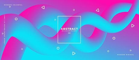Abstract two curved flowing fluid shape path with geometric shape on gradient dynamic background vector