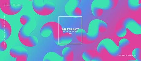 Abstract 3d wave flowing group of shapes on gradient liquid dynamic background vector