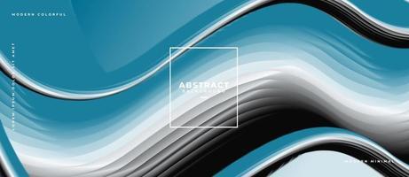 cartel moderno de onda fluida verde blanco y gris abstracto con degradado diseño de fondo de innovación de forma de flujo 3d para la página de destino vector