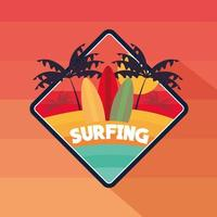surfing tropic theme vector