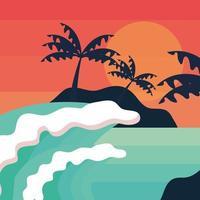 tropical island waves vector