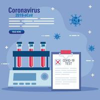 covid 19 virus test tubes and medical document vector design