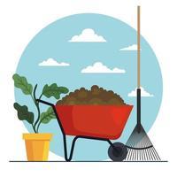 Gardening plant wheelbarrow and rake vector design