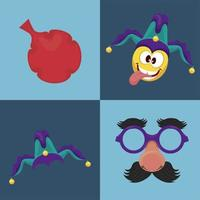 bundle of four april fools day set icons vector