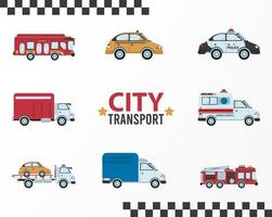 city transport lettering and bundle of eight vehicles vector