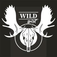 wild spirit lettering with moose head skull vector
