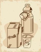 yogur y leche vector