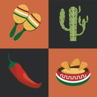 mexican four icons vector