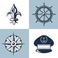 four nautical labels vector