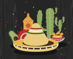 mexican celebration hat vector