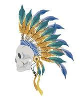 skull indian profile vector